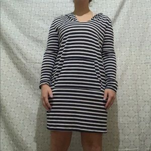 Blue and white striped hooded dress